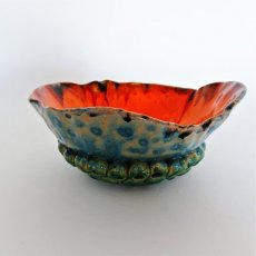 Bowl in blauw en oranje